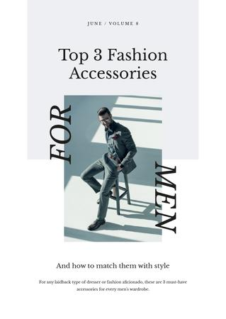 Accessories Guide with Man in stylish suit Newsletter Modelo de Design