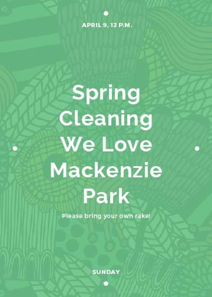 Spring Cleaning Event Invitation Green Floral Texture — ein Design erstellen