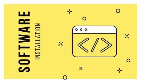 Plantilla de diseño de Software Message Icon in Yellow Business card