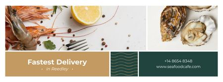 Assorted fresh Seafood Facebook cover Design Template