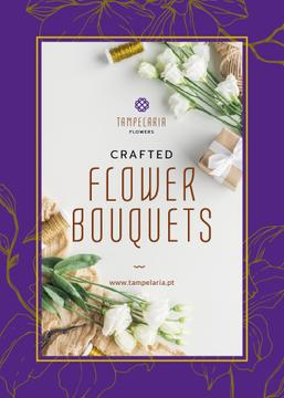 Florist Services Ad White Flowers and Ribbons | Flyer Template