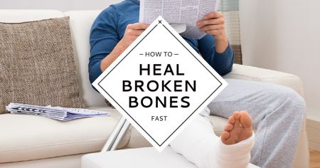 Ontwerpsjabloon van Facebook AD van Man with broken bones sitting on sofa with newspaper