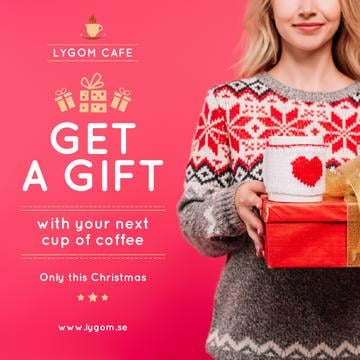 Christmas Offer Woman Holding Present and Coffee Cup
