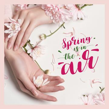Female hands with spring flowers
