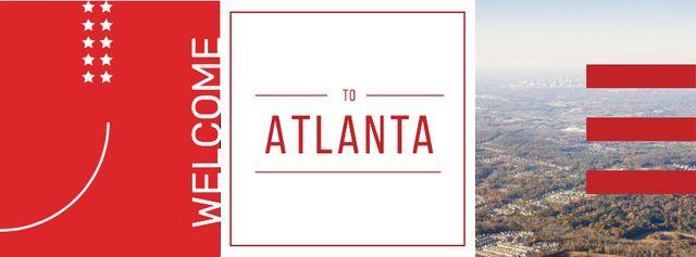 Plantilla de diseño de Atlanta city view Facebook cover