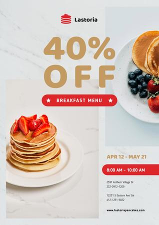 Template di design Cafe Menu Offer with Stack of Pancakes with Strawberries Poster
