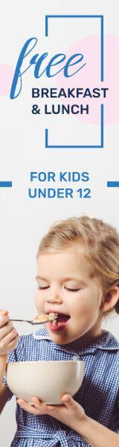 Kids Lunch Offer Girl Eating Cereals Skyscraper – шаблон для дизайна