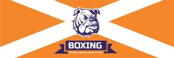 Boxing Match Announcement Bulldog on Orange | Twitter Header Template