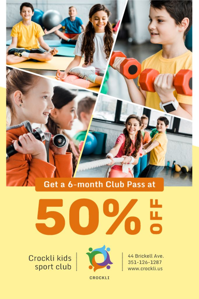 Kids Sports Club Offer Children Training — Создать дизайн