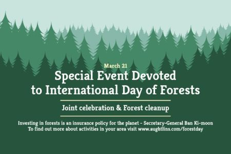 Ontwerpsjabloon van Gift Certificate van Special Event devoted to International Day of Forests