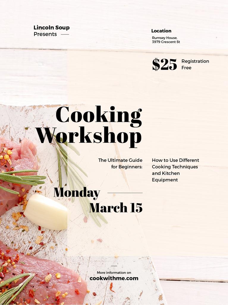 Cooking Workshop ad with raw meat — Créer un visuel