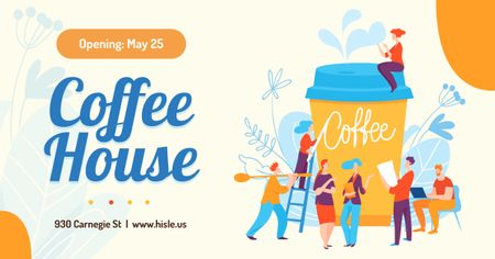 Coffee House Ad People Assembling Giant Cup Facebook AD Modelo de Design