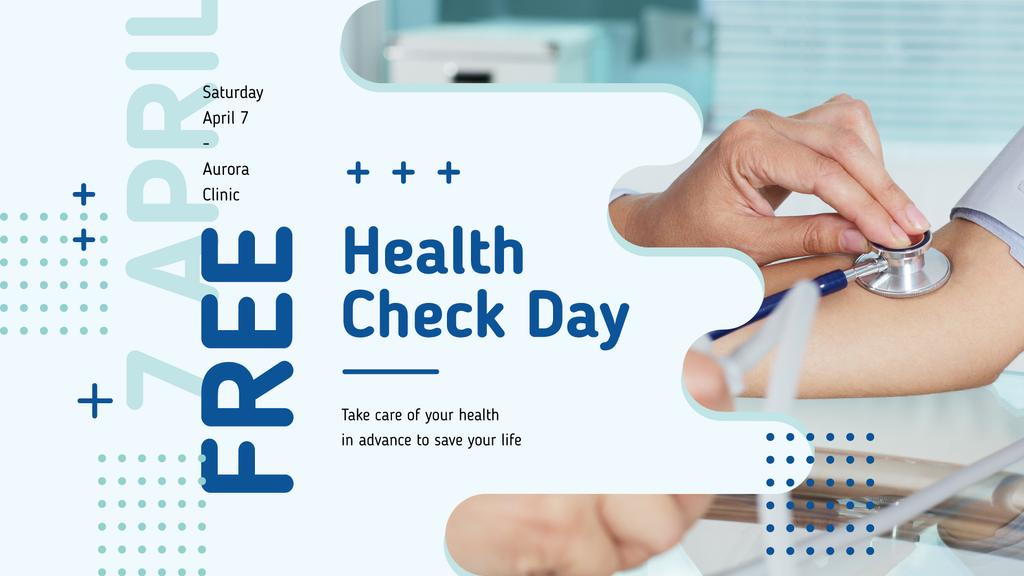 Free Health Check Doctor Examining Patient | Facebook Event Cover Template — Modelo de projeto