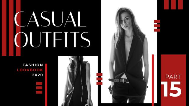 Modèle de visuel Fashion Ad Young Woman in Black Clothes - Youtube Thumbnail
