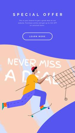 Plantilla de diseño de Man pushing Shopping cart Instagram Video Story