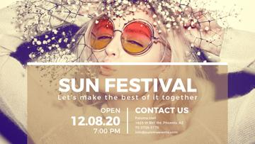Sun festival advertisement with happy Girl