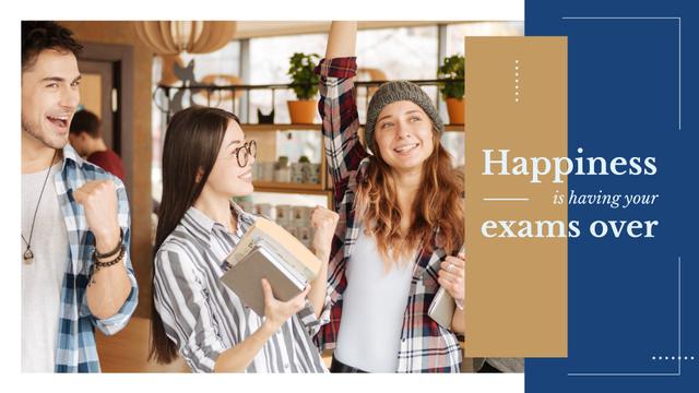 Plantilla de diseño de Happy Students in college Presentation Wide