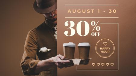 Man holding Coffee To-go FB event cover Modelo de Design