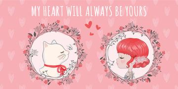 Love Quote Girl and Cat portraits