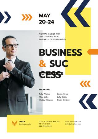 Business Conference Announcement with Confident Man in Suit Poster Modelo de Design