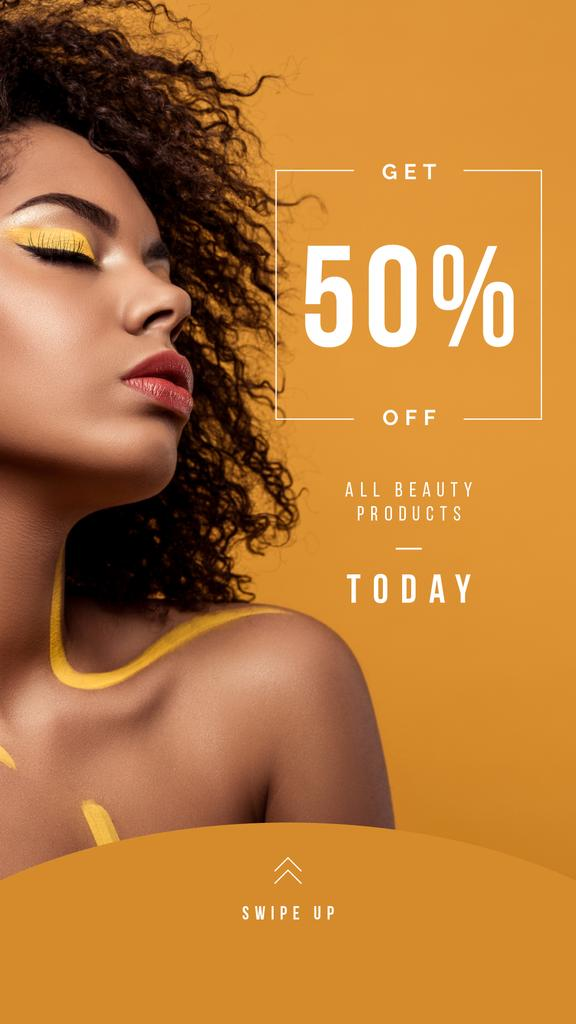Beauty Products Ad with Woman with Yellow Makeup — Modelo de projeto