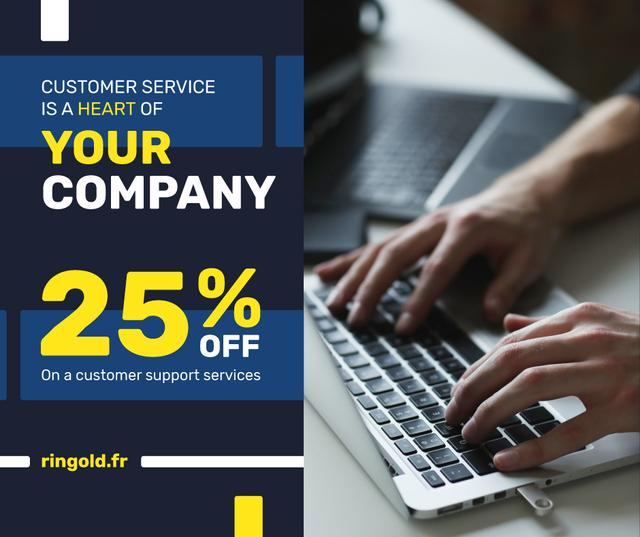 Template di design Business Service Worker typing on Laptop Facebook