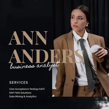 Business Analyst Services Ad with Woman in Suit in Brown