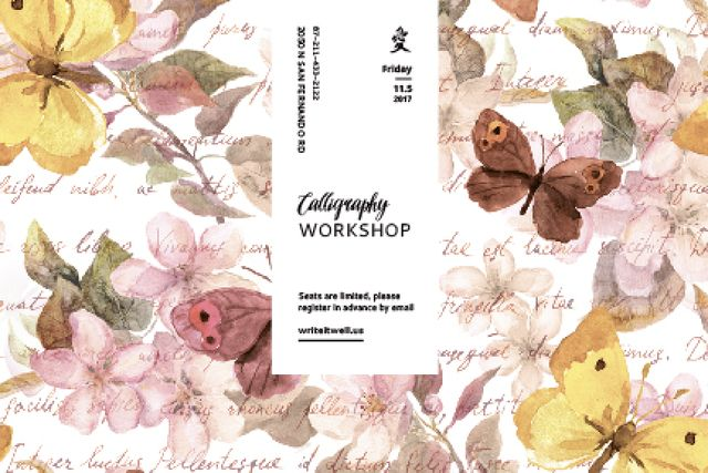 Calligraphy workshop Annoucement Gift Certificate – шаблон для дизайна