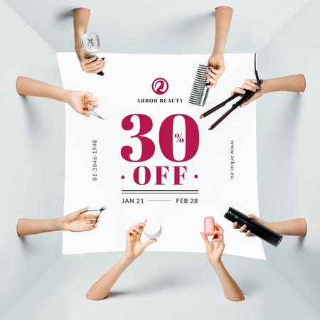 Ontwerpsjabloon van Instagram van Hairdressing Tools Sale Announcement
