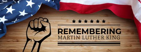 Plantilla de diseño de Martin Luther King Day Greeting with Flag Facebook cover