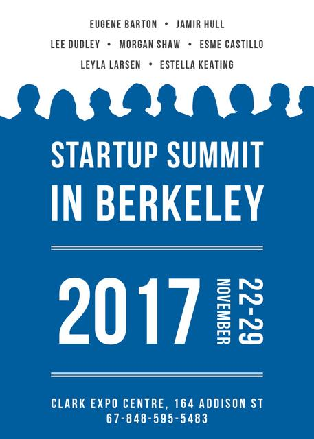 Startup Summit Announcement Businesspeople Silhouettes Flayerデザインテンプレート