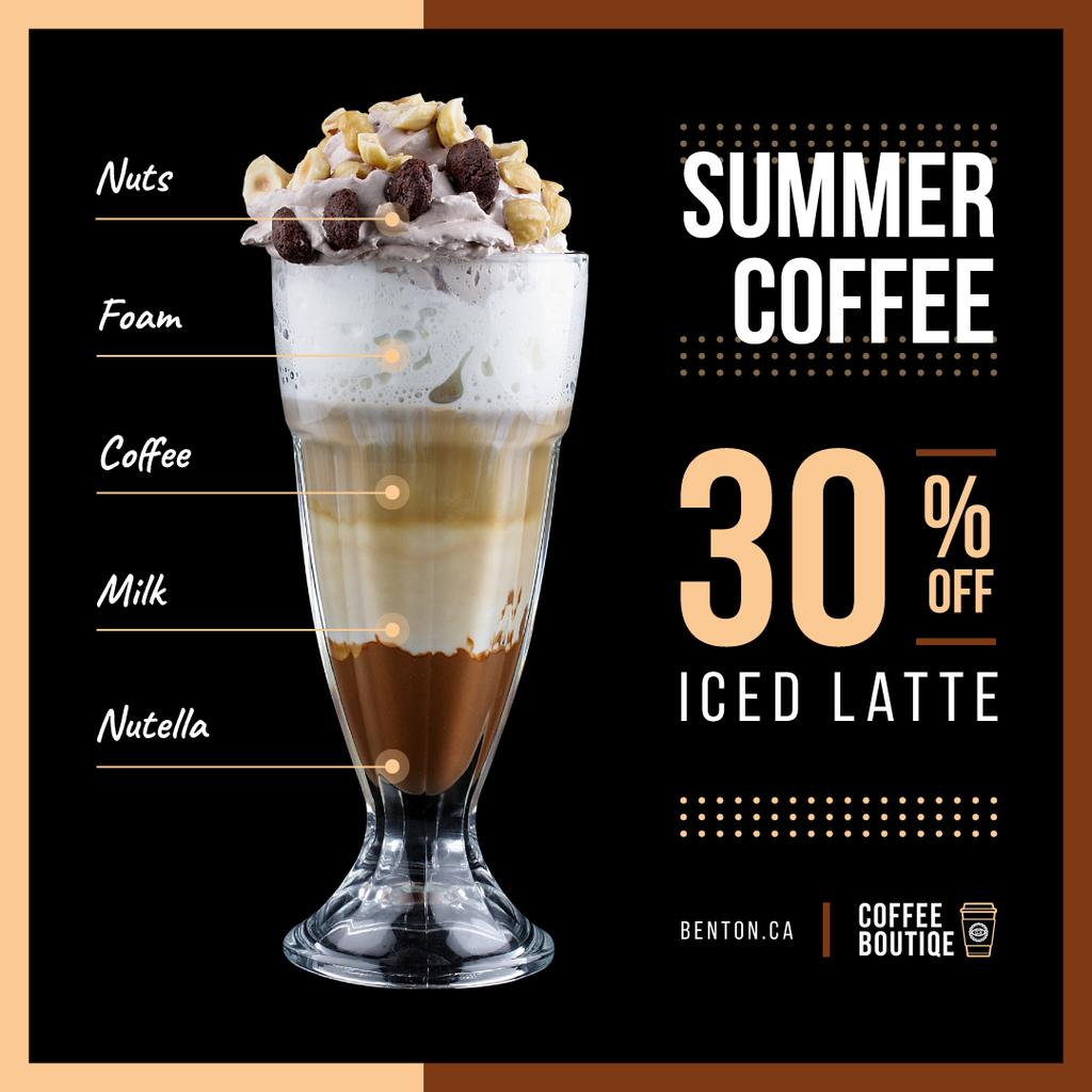 Coffee Shop Promotion with Latte Drink | Instagram Post Template — Создать дизайн