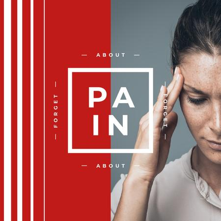 Woman suffering from Headache Instagram AD – шаблон для дизайна