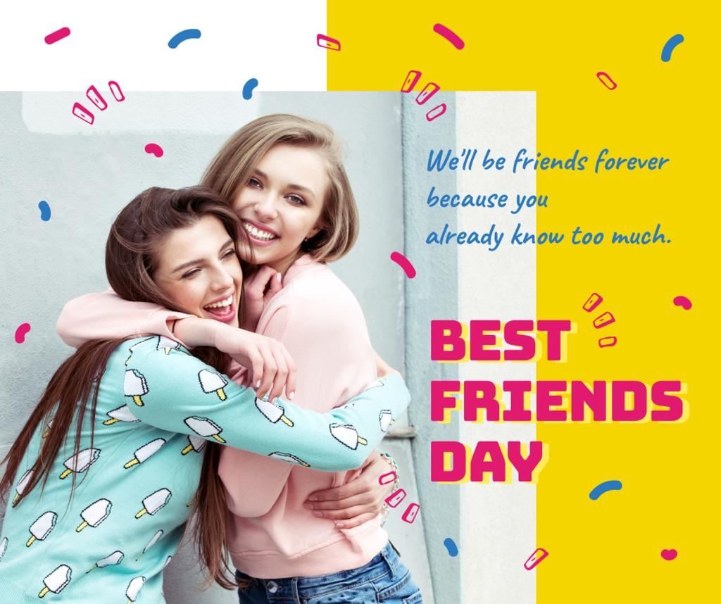 Young girls hugging on Best Friends Day — Modelo de projeto
