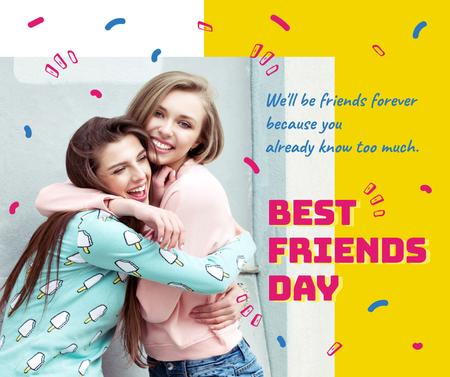 Young girls hugging on Best Friends Day Facebook Design Template