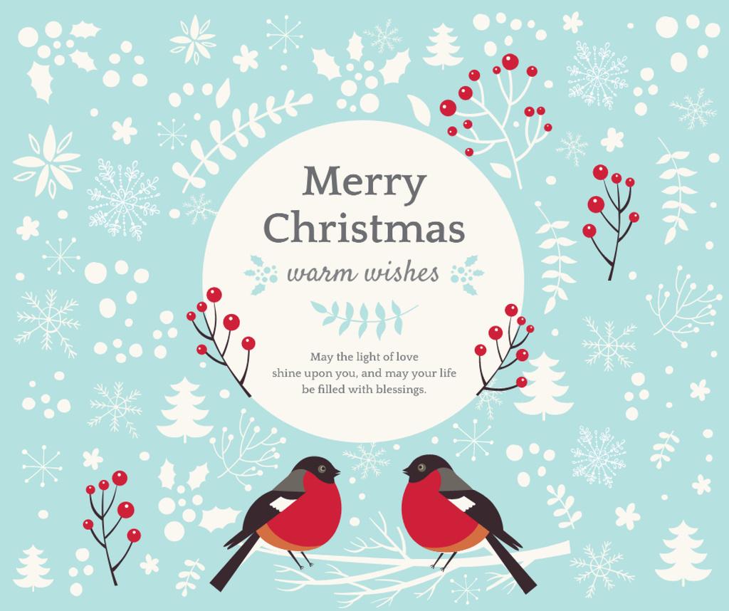 Christmas Greeting with bullfinch birds Facebook Modelo de Design