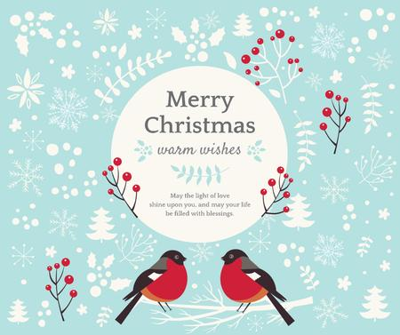Christmas Greeting with bullfinch birds Facebook Tasarım Şablonu