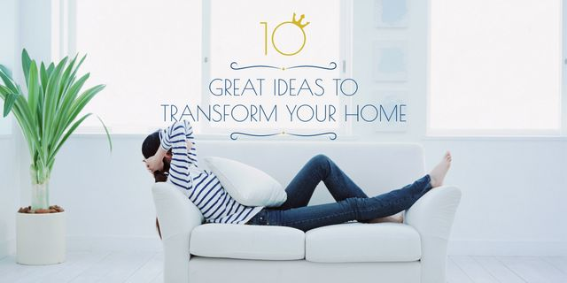 Home Decor ideas Woman Resting on Sofa Image Design Template