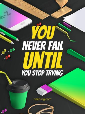 Motivational quote with Stationery on working table Poster US – шаблон для дизайна