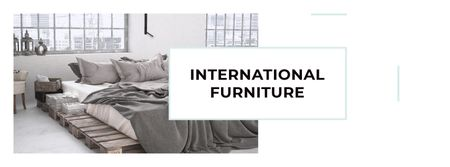 Furniture Show Bedroom in Grey Color Facebook cover – шаблон для дизайну
