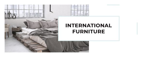 Furniture Show Bedroom in Grey Color Facebook cover – шаблон для дизайна
