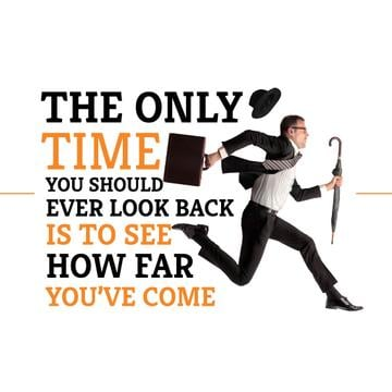 Motivational quote with Running Businessman