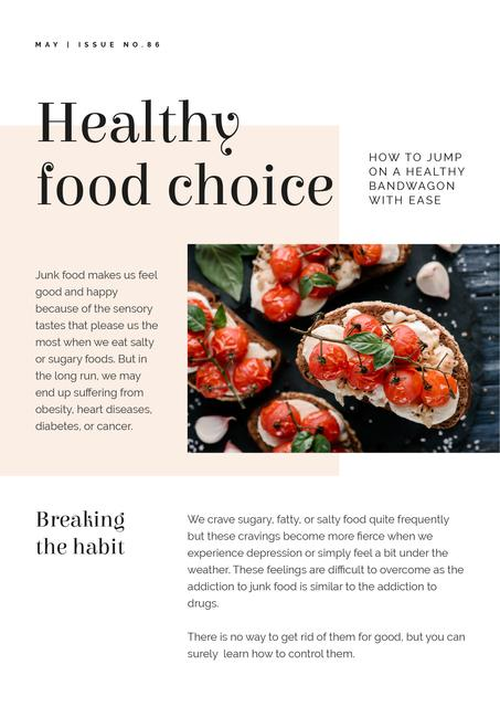Healthy Food Choice Article Newsletter Design Template