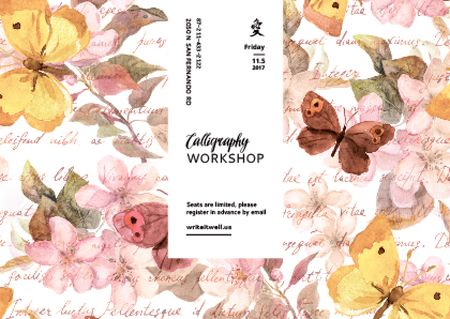 Calligraphy Workshop Announcement with Watercolor Flowers Card Modelo de Design