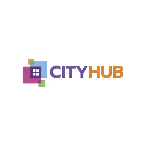 City Hub Window Concept Animated Logoデザインテンプレート