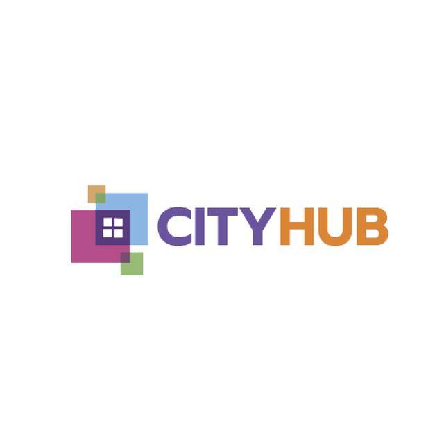 Ontwerpsjabloon van Animated Logo van City Hub Window Concept