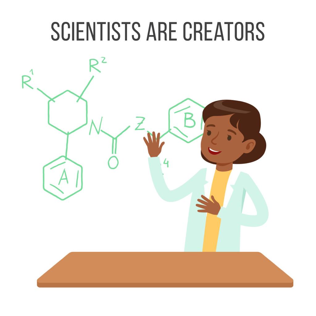 Scientist working on molecule structure — Crea un design