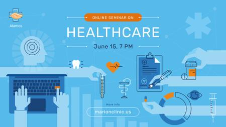 Healthcare Event Medicines and Doctor Icons FB event cover Modelo de Design