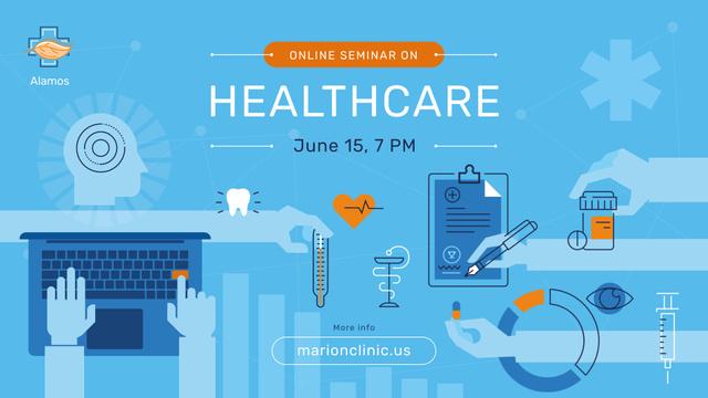 Healthcare Event Medicines and Doctor Icons FB event cover Modelo de Design
