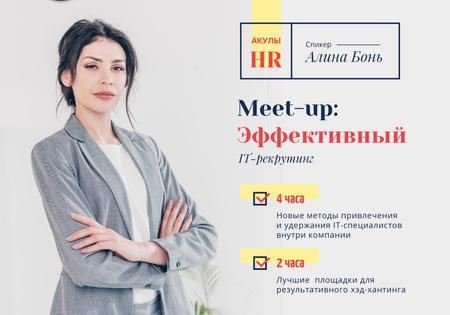 Plantilla de diseño de Business Event Announcement with Confident Businesswoman VK Universal Post